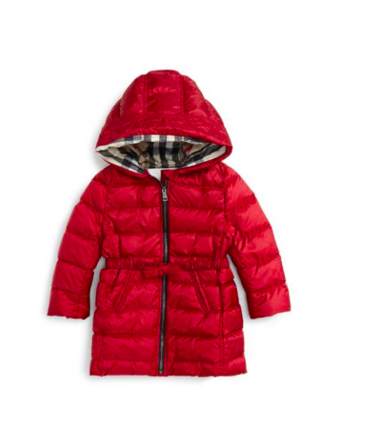 ab3590e0aca5 Burberry Girls Hooded Down Puffer Coat Baby Red Size 9 Month Gift ...