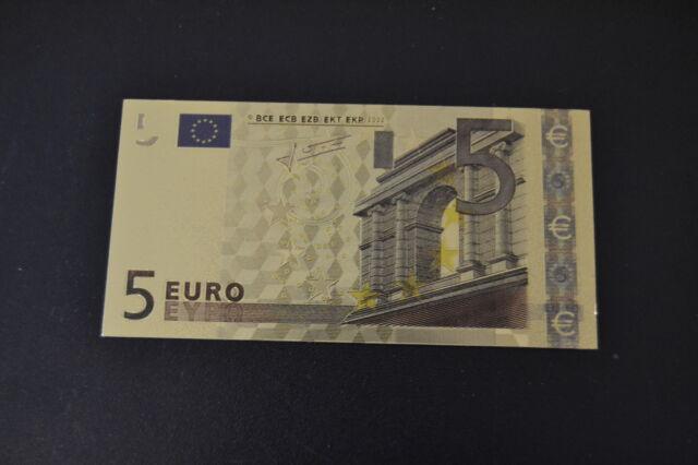 5 Euro € Banknote Geldschein mit Zertifikat 24k Goldschein neu Farbapplikation