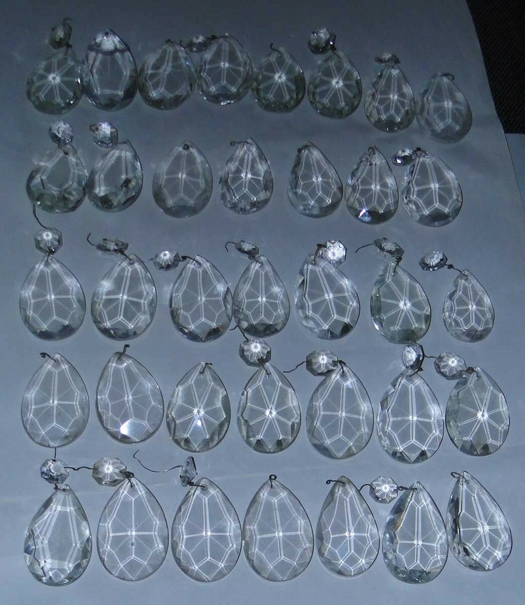 LARGE High Quality Lead French Pendant Crystals For Lamp & Chandeliers 35 PIECES