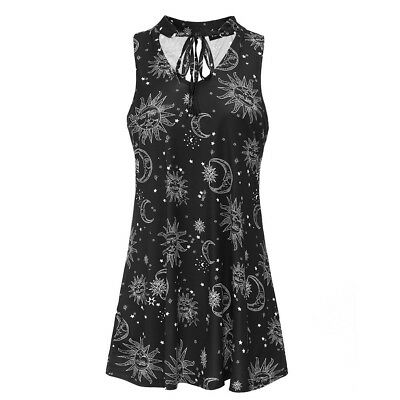 Women Sun And Moon Halter Sleeveless V-Neck One Piece Mini Black White Dress NEW
