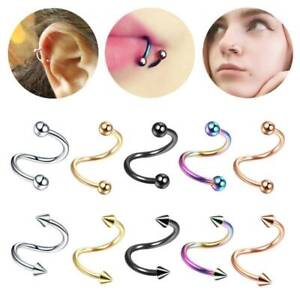 16G Surgical Stainless Steel Gold S Spiral Twist Ear Helix Cartilage Labret Nose Rings Body Piercing 3mm Ball
