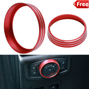 Aluminum Alloy Headlight Lamp Adjust Control Button Knob Frame Ring Cover Trim for Ford Mustang F150 2015-2018 red