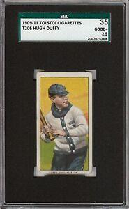 Rare 1909-11 T206 HOF Hugh Duffy Tolstoi Back Chicago SGC 35 / 2.5 GD +
