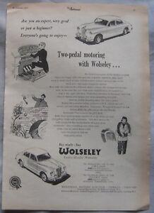 1957 Wolseley Original advert No1 - Blackburn, Lancashire, United Kingdom - 1957 Wolseley Original advert No1 - Blackburn, Lancashire, United Kingdom
