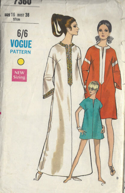 1968 Vintage VOGUE Sewing Pattern B38 DRESS CAFTAN COVER-UP (1360)