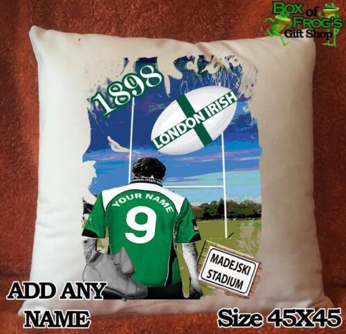 Personnalisé London Irish Rugby Union Football Artwork Housse De Coussin Cadeau