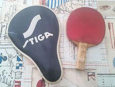 Vintage 80s racchetta Tennis Tavolo Ping Pong Stiga 2 Stelle Rossa con custodia