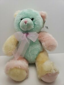 Kellytoy-Teddy-Bear-Plush-Pastel-Multi-Color-Pink-Yellow-Green-16-034-New-with-Tags