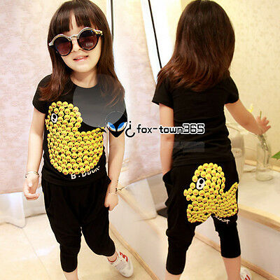 Summer Baby Boys Girls Child Kids Yellow Duck Short T-Shirt+Trousers Sets 2-7Y
