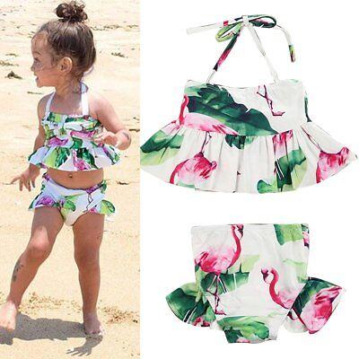 Toddler Kids Baby Girl Ruffles Tankini Swimwear Swimsuit Bikini Set Bathing Suit