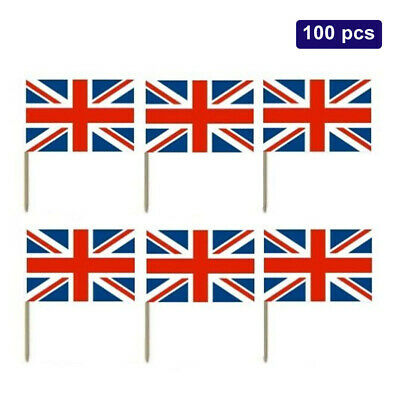 Union Jack GB USA Mini Flags Cocktails Buffet Food Cake Cupcakes Picks Toppers