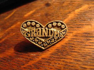 Details about Grandma Lapel Pin - Vintage Monarch Creations Gold Heart Love  Jacket Blouse Pin