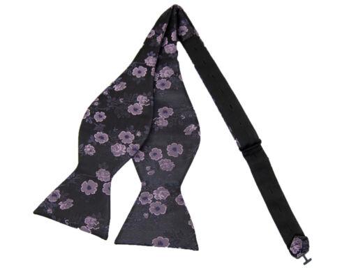 New Fashion Purple Flowers Pattern Bow tie Adjustable Jacquard Woven
