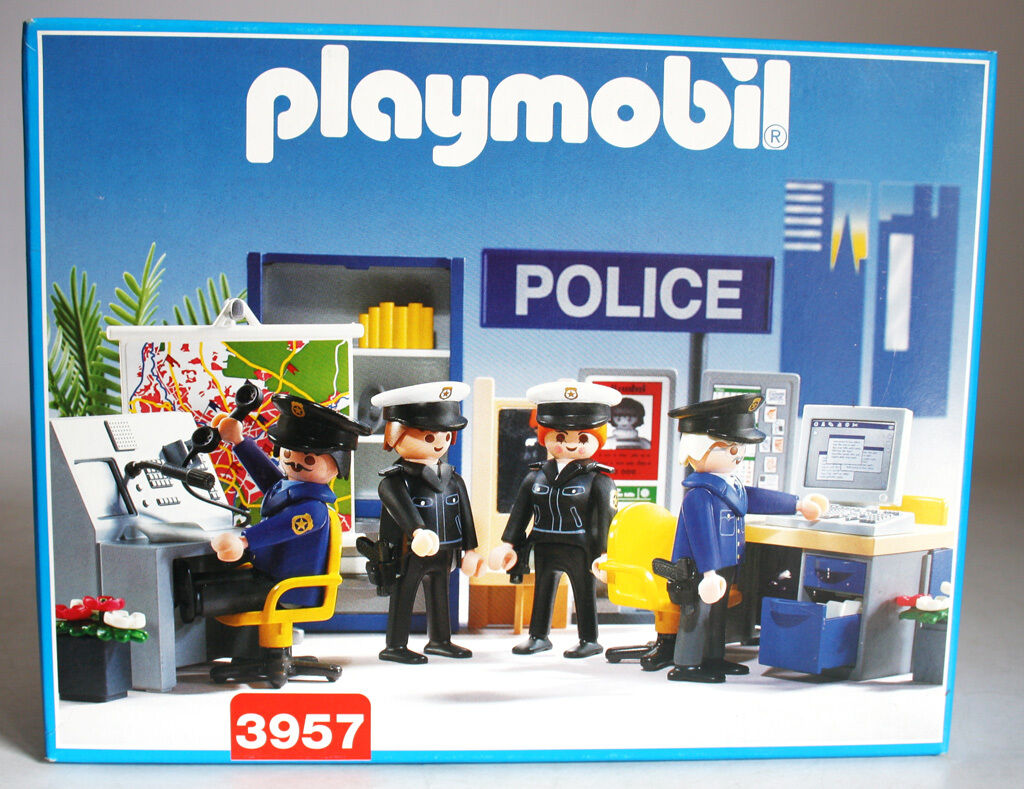 VERY RARE VINTAGE 1997 PLAYMOBIL 3957 POLICE POLICE POLICE STATION HEADQUARTERS NEW MISB 635564