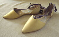 Brand Boden Florence Flat Point Shoes Sz 40 Uk 6.5 Matt Soft Gold