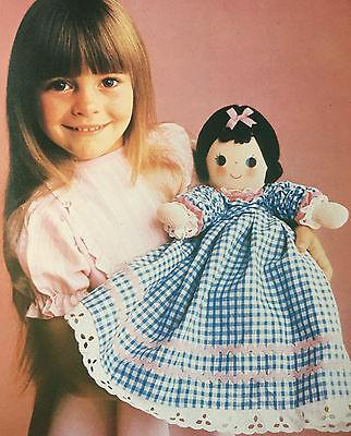Rag Doll Sewing Pattern Photocopy Dolly in Dress Petticoat Pantaloons Apron Cap