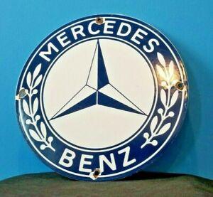 VINTAGE-MERCEDES-BENZ-PORCELAIN-GAS-AUTOMOBILE-SERVICE-STATION-DEALERSHIP-SIGN