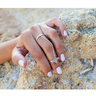 Vintage Women's Tassel Chain Linked Double Circle Rings Cute Bee Knuckle Ring YX