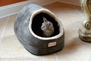 Armarkat Faux Suede Fur Cat Kitten Dog Pet Hooded Cave Bed Mat Gray/Green Beige