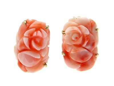 GENUINE NATURAL CARVED PINK CORAL FLOWER EARRINGS 14K GOLD OMEGA FRENCH CLIP
