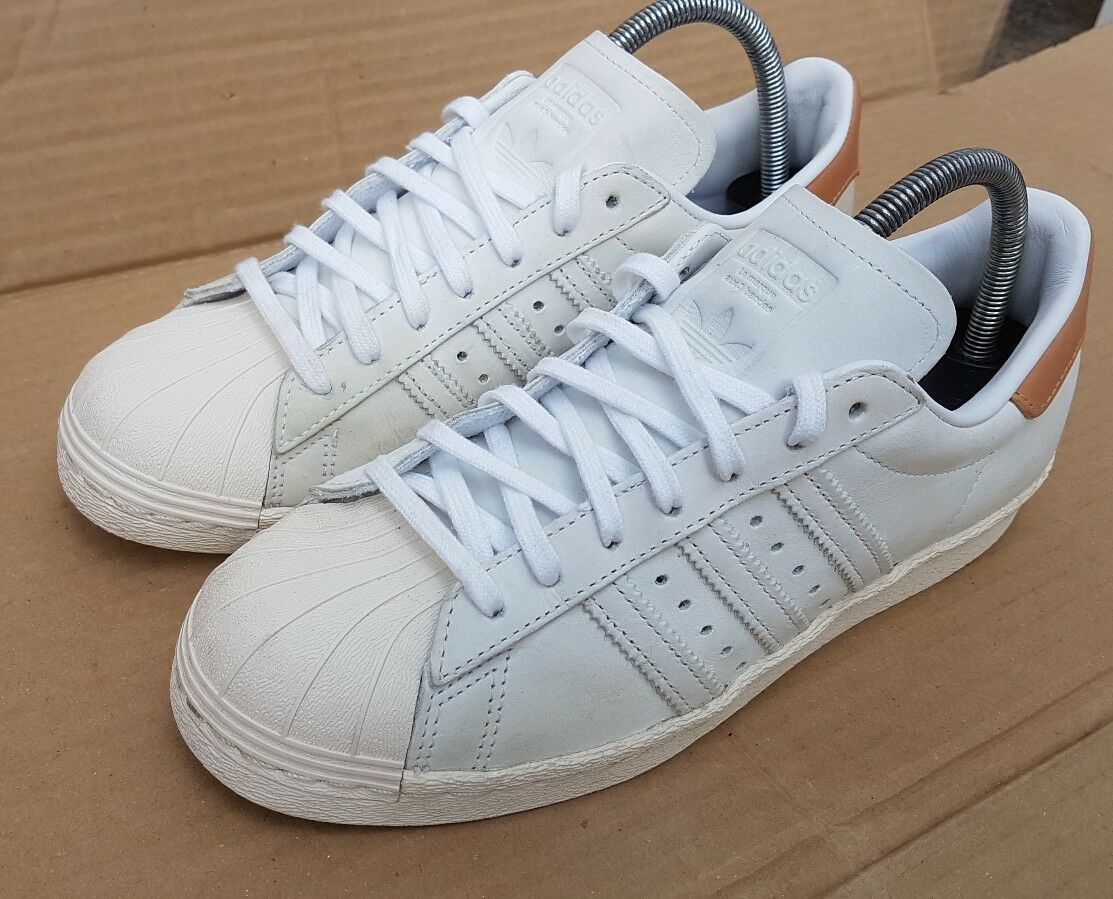 ADIDAS SUPERSTAR 80's TRAINERS SIZE 5.5 UK WORN ONCE ONCE ONCE IMMACULATE BEIGE TAN NUDE cd2055