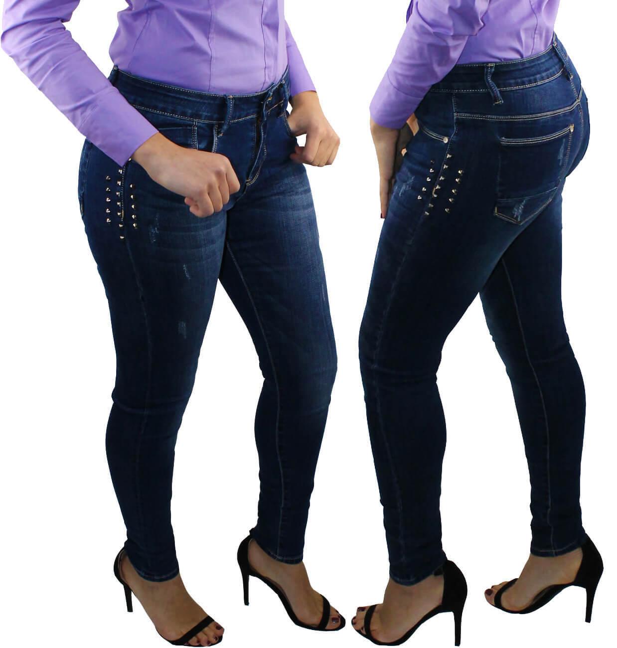 più recente d0f84 25809 Dettagli su Jeans ragazza pantaloni donna skinny elasticizzati 40 42 44 46  48 alla moda RDV