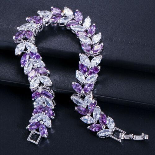 Multi Violet Améthyste White Topaz Gems Blé Argent Sterling 925 Bracelet en plaqué