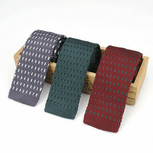 100% Wool Mens Classic Stripe Necktie High Quality  Knitting Wedding Party Ties