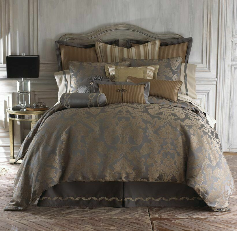 Waterford Fine Linens Walton Reversible Charcoal Bronze Queen Comforter Set 4pc