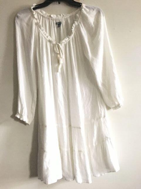 Aerie Cream Off Shoulder Tie Front Dress damen Größe M Stylish RNCA