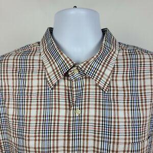 Peter-Millar-Brown-Blue-Black-Plaid-Check-Mens-Dress-Button-Shirt-Size-3XL-XXXL