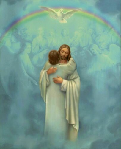 """Welcome Home   8/"""" x 10/"""" ready to be framed print JESUS embraces man in heaven"""
