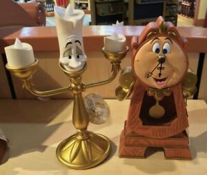 Disney-Parks-Beauty-amp-the-Beast-Cogsworth-Clock-and-Lumiere-Light-Up-Figurine