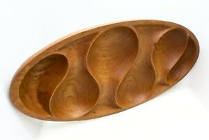 Mid-Century-Modern-Wooden-Divided-Bowl-Teak-1960-039-s