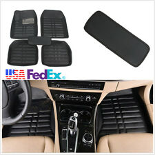 5Pcs PU Leather Car Floor Mats Deep Tray anti-slip Waterproof Dustproof Black