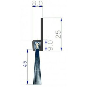10 lfm a 1 m Streifenbürste 45 mm Bürstendichtung Alu Profil Türbürste Torbürst