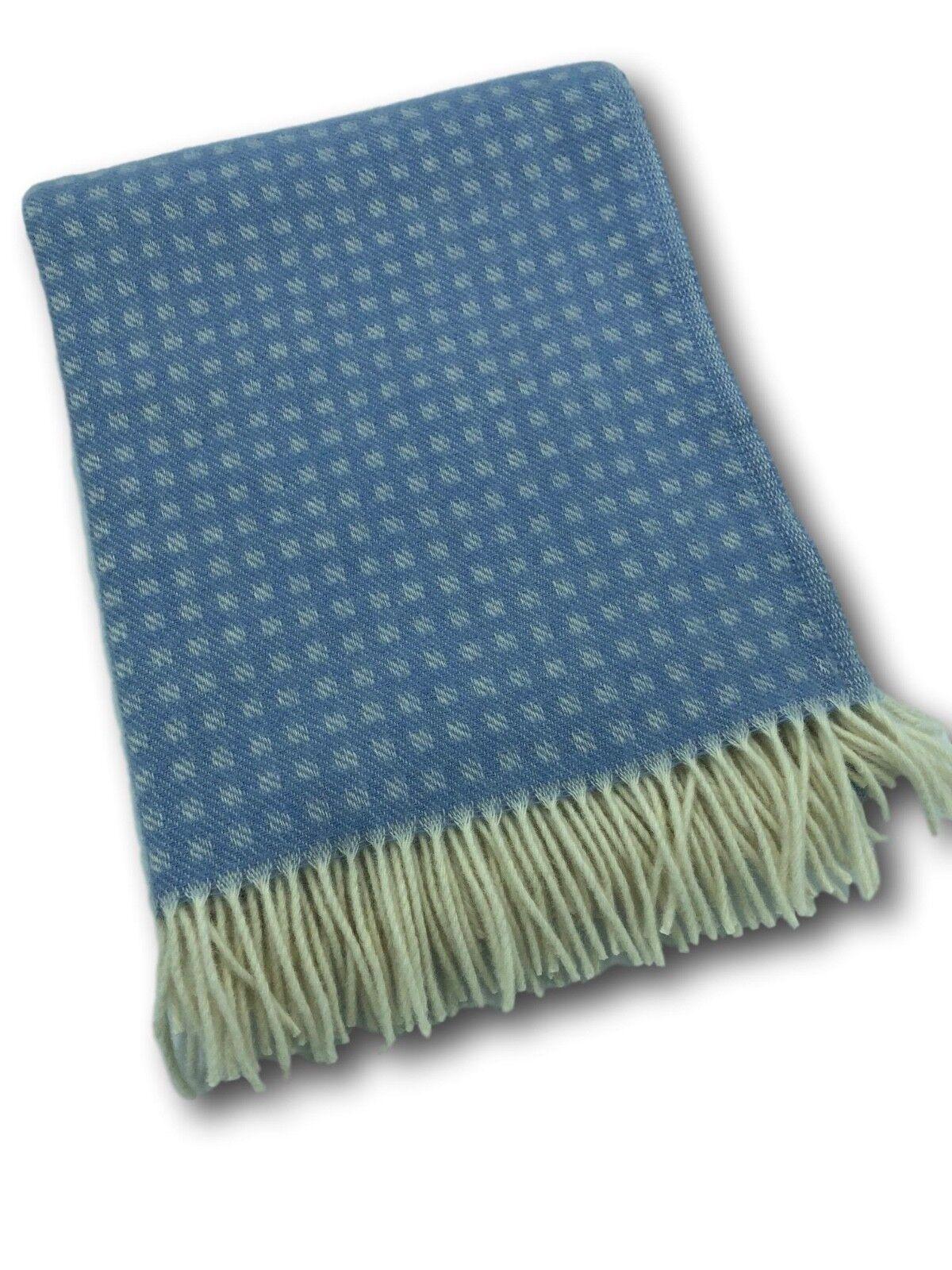 Wool Blanket Bedspread Coupling Sofa Cover 100% bluee Cream 55 1 8x78 11 16in
