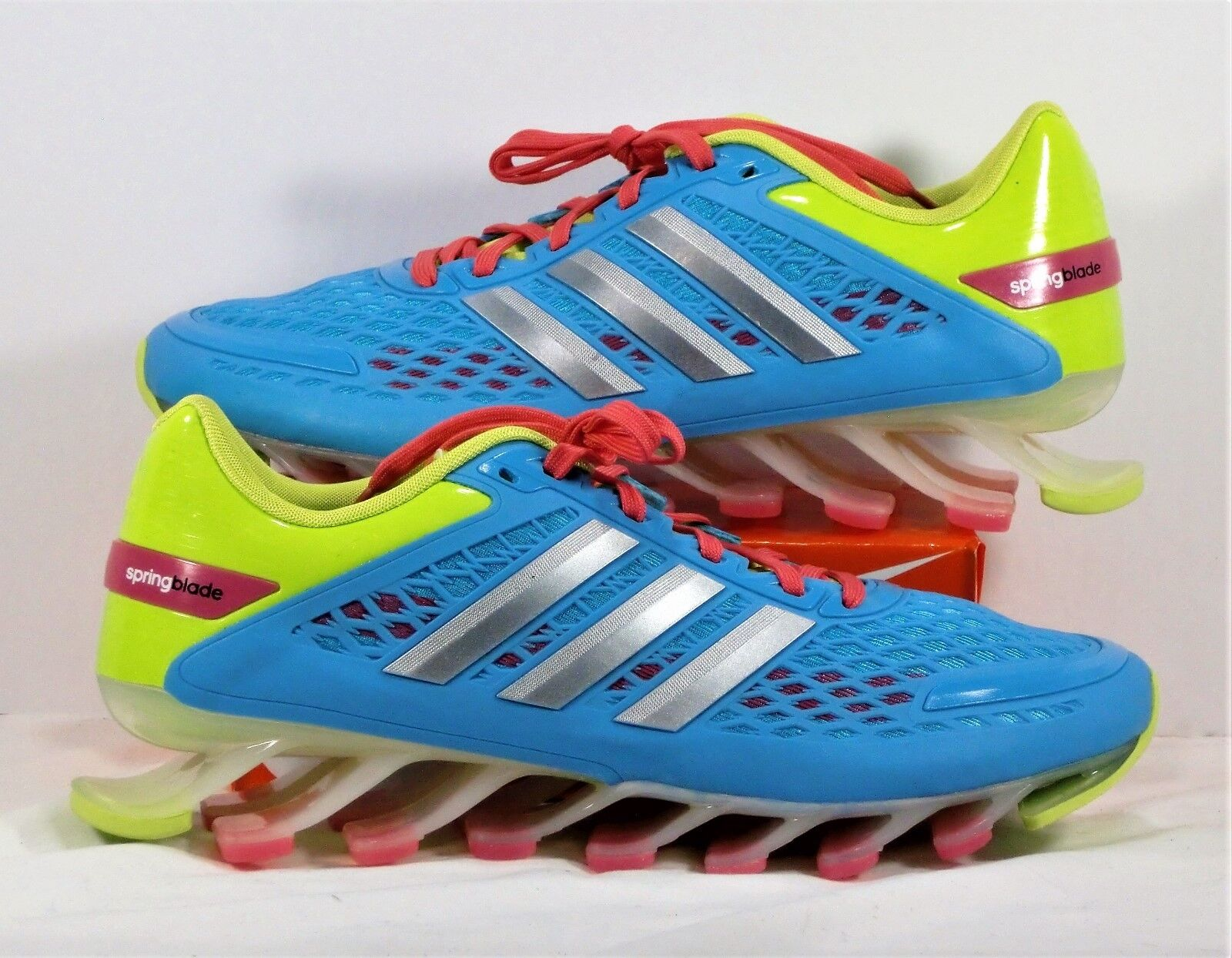 Adidas Springblade Razor bluee & Lime Green & Pink Running shoes Sz 6.5 NEW M21921