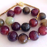 Designer Red Bead Gemstone Necklace Chunky Agate Handmade Beaded Jewelry Gift