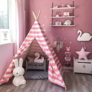 best sneakers 85b15 1e6ff Details about Pink Princess Girl Teepee Cotton Kids Play Tent Toy Gift  Outdoor Playhouse