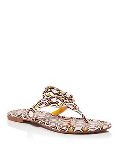 88847d976c48 NIB Tory Burch Women s Miller Leather Thong Sandals PRINTED BALLET ...