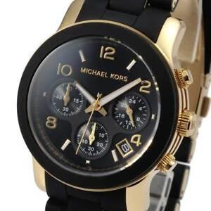 08b9b1674456e Image is loading Michael-Kors-MK5191-Watch-RUNWAY-Chronograph-Black-Silicone -