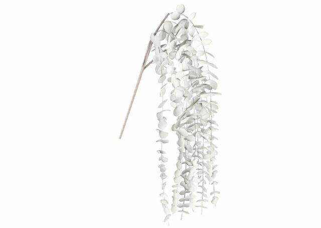 38518 Foam Flower Plata Kunstschaum grau weiß mit Blättern weisser Zweig 70cm