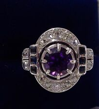 Antique Art Deco Amethyst, 0.79ct Diamond and Sapphire Ring in 18ct White Gold