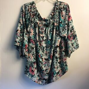 Women-039-s-boutique-Floral-Boho-Top-3XL-tunic-blouse-Teal-Pattern