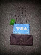 KATE SPADE-Down The Rabbit Hole-English Tea Clutch Purse Bag Blue/Gold-NWT