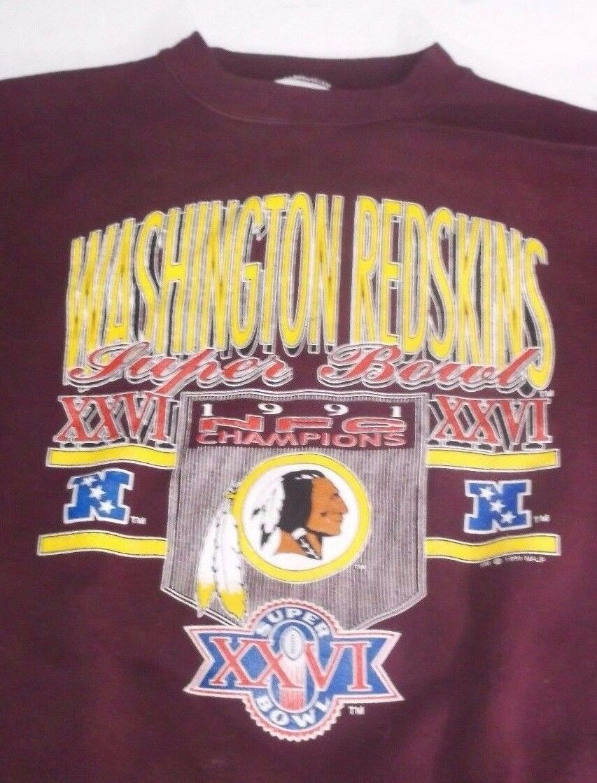 Tultex Sweater WASHINGTON REDSKINS Super Bowl XXVI 1991 NFC CHAMPIONS Adult Med