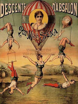 Advert Exhibition Circus Miss Stena Trapeze Acrobat Hair Strange Canvas Print