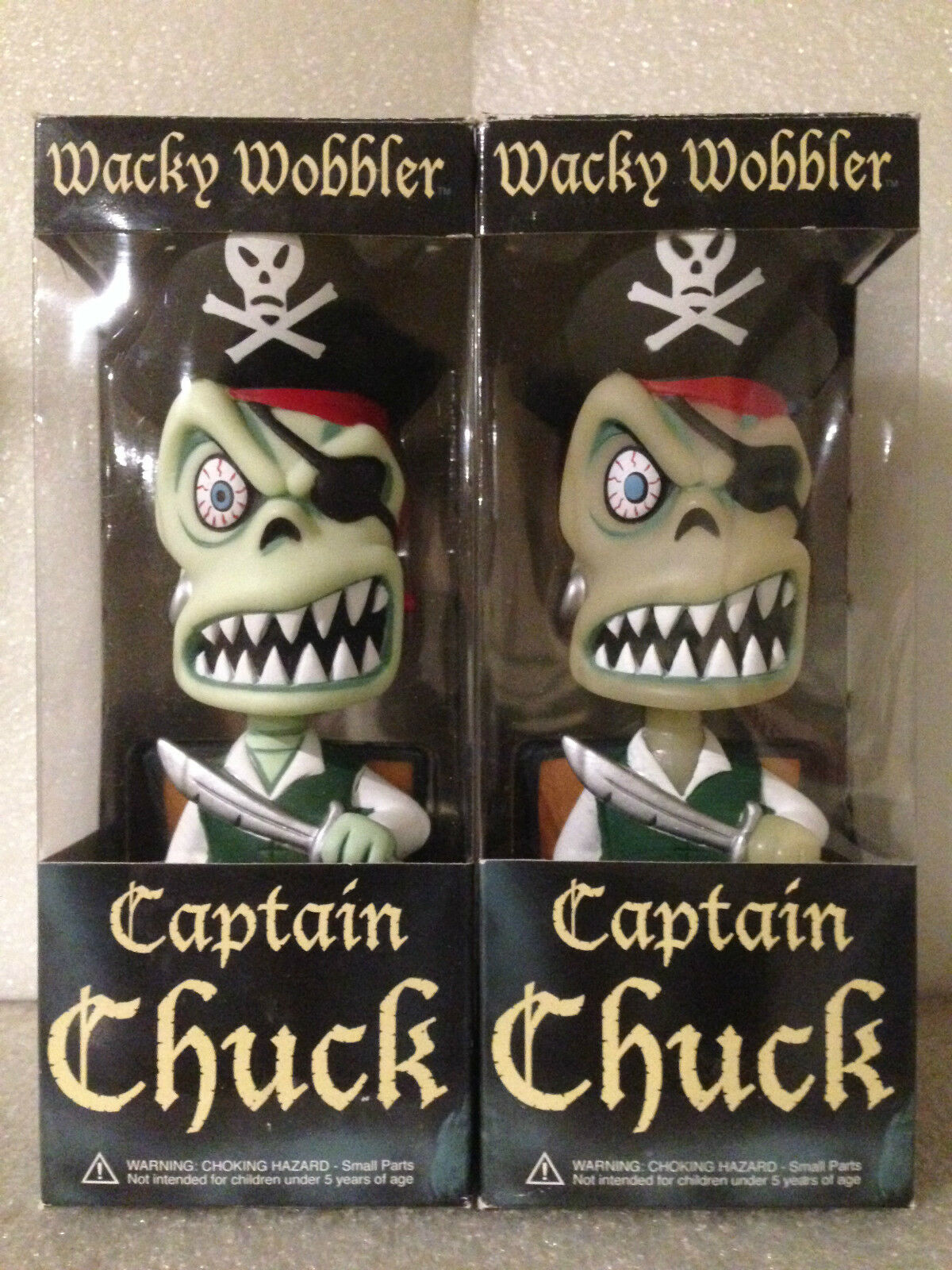 FUNKO CAPTAIN CHUCK COLLECTORS SET X2 GITD & REG BOBBLE HEAD WACKY WOBBLER NEW