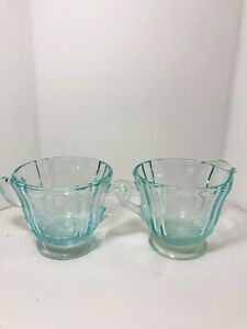 Vintage Recollection Teal Glass Creamer & Sugar Set - Indiana Glass